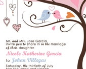 Love Birdie Wedding Invitations - Custom Listing for 11nicole84 - Pink tweet, tweet love birds in a tree