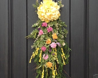 Spring Wreath Summer Wreath Teardrop Vertical Door Swag Decor Yellow Pink Peach Floral Swag Hydrangea Swag