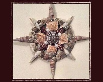 "Sea Shell Wall Plaque (7"" Nautical Compass) - Handmade Coastal Decor"