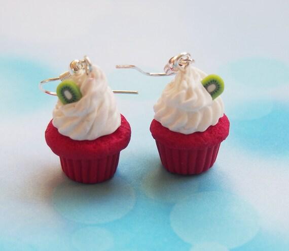 Kiwi Cupcake Earrings Polymer Clay Dessert Earrings Food
