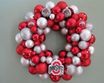 "OHIO STATE BUCKEYES Wreath Ornament Wreath 16"" shatterproof"