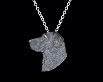 Oxidized Sterling Silver Chesapeake Bay Retriever Pendant or Necklace (Optional Chain)