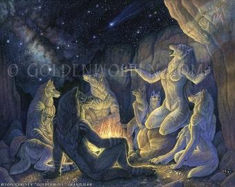 Wolf Werewolf Pack Storyteller Original Acrylic Painting