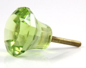 Olive green faceted glass knob 3.4cm GRN015