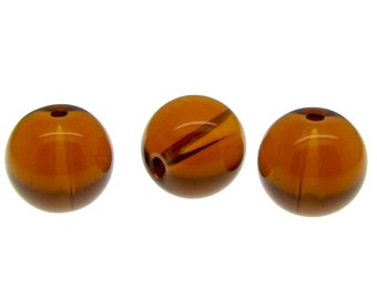 Glass Beads : 30 pieces 10mm Smoked Topaz Round Crystal Beads (full 12-inch strand)       -- 60327
