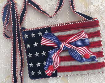 American Flag - RED WHiTE and BLUE Over the Shoulder Bag - USA Patriotic Purse