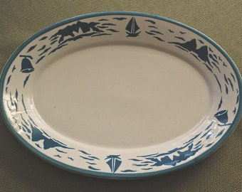 Homer Laughlin Oval Ironstoner Platter Sailboat/Nautical Theme