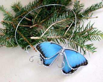 Morpho Butterfly Stainless Steel Torc, Blue Wings Nature Jewelry, Real Butterfly Necklace