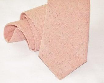 Peachy pink osnaburg neck tie.  Standard or skinny textured necktie