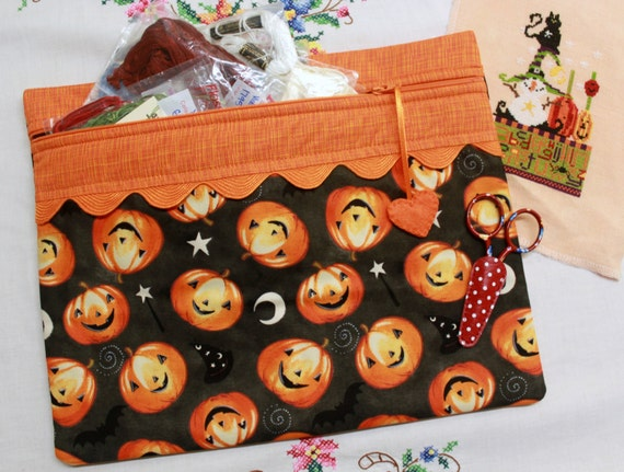 Frightfully Fun Pumpkins Cross Stitch, Sewing, Embroidery Project Bag