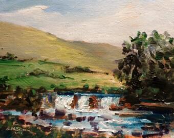 Original  Irish Painting. Aasleagh falls Connemara. Ireland. Oil on canvas panel 10 ins x 8 inches by Bill O'Brien. Irish art