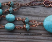 Turquoise Howlite Pendant and Copper Statement Necklace