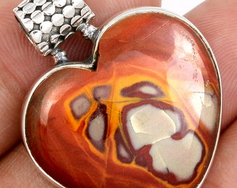 Ruddy Red Browns and Oranges, Undyed Noreena Jasper Heart Solid Sterling Pendant.