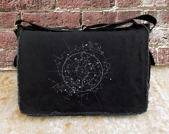 Screen Printed Messenger Bag - Celestial Map of the Night Sky - Cotton Canvas Messenger Bag
