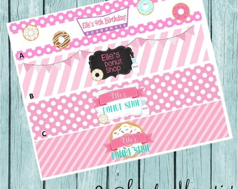 Girl Donut Party Bottle Labels- Ready to Ship!