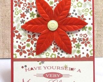 Christmas Cards- Poinsettia- Merry Christmas- Holiday Cards- Clearance