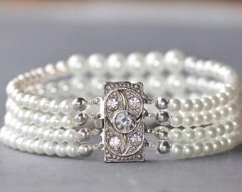 1920s AUTHENTIC Art Deco Pearl Bracelet,Multi Strand Graduated Pearl Bracelet,Silver Paste Rhinestone Paved Clasp,Faux Pearl,White,Bridal