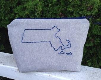Bay State Bag, Embroidered Zipper Pouch, MA Bag