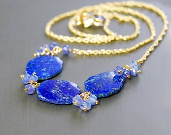 Lapis Lazuli, Tanzanite Gold Filled Necklace by Agusha. Blue Gemstone Necklace. Navy Blue, Periwinkle Blue Gem Necklace