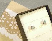 Ethiopian Opal Post Earrings, 4mm Natural Opal Cabochons in Sterling Silver E132