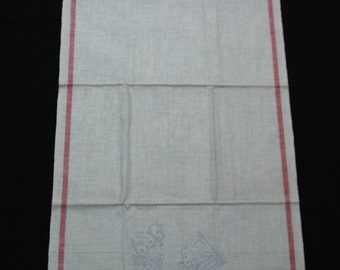 Cute Vintage Linen Towel Stamped to Embroider, Scottie, Scotty Dog in Kitchen, Red Stripes