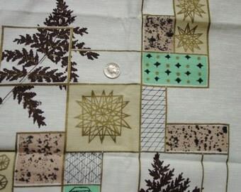 Mid Century Modern Drapery Fabric, Gold Metallic, Ferns Atomic Aqua, Fabulous