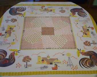 "Vintage Tablecloth, Farm Scenes, Rooster, 46 x 49 1/2"" Nice but a little As Is"