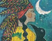 Indian Maiden /  Black Crow  - Vintage Ephemera - Original Art  - Altered