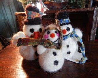 Set of Three Needle felted Snowmen-Small,med, large