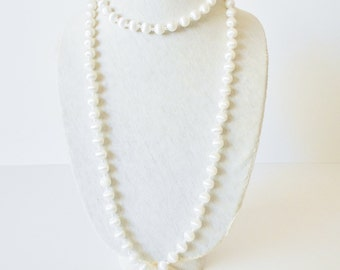 Sarah Cov White Satin Double Necklace, Two for One, Rope length, Opera length necklace, Cat's Eye, Faux Pearls, Layered necklace, 1960's