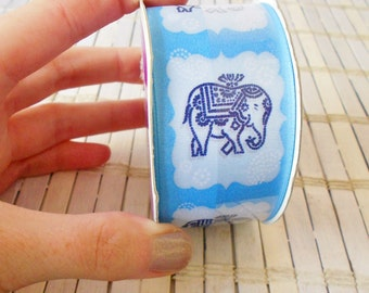 "Wide Ribbon Light Blue & White Elephant Print Indian style Destash Spool 1.5"" 4 yards"