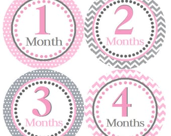 Baby Month Stickers Pink & Grey Polka Dots Monthly Belly Onesie Labels Pink and Gray for Pictures and Photos 1 to 12 Months for Baby Girl