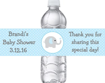 Printed 15 Personalized Blue & Gray (Grey) Elephant Baby Shower Water Bottle Labels - Blue Polka Dots Elephant Stickers for Party Favors