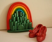 Rainbow with Emerald City and Ruby Slippers Cake topper for birthday cakes.