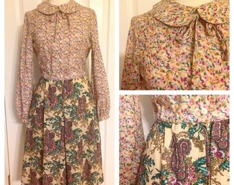 1960s multi print floral dress / 60s peter pan collar dress