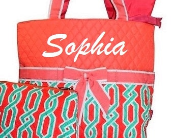 Personalized Diaper Bag Diaper Bag Set Quilted Tote Bag Coral Mint Green