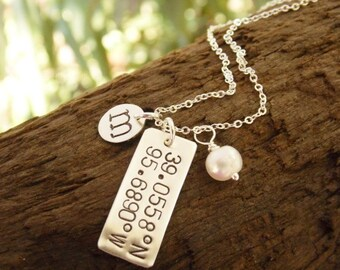 Sterling Silver Hand Stamped Initial Necklace Longitude Latitude Coordinates