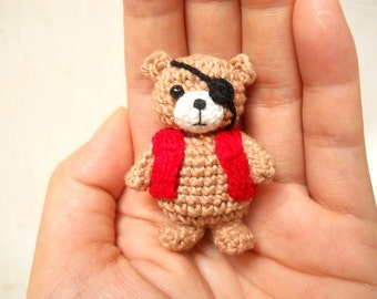 Pirate Bear Amigurumi - Crochet Miniature Bear Stuffed Animals - Made To Order