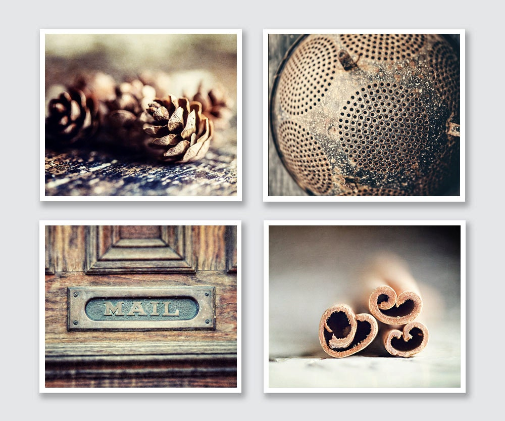 Wall Decor For Rustic Kitchen : Rustic kitchen wall art set print or canvas