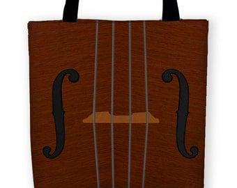 VIOLIN VIOLA CELLO Carryall Tote, Classical String Family Reusable Fabric Bag