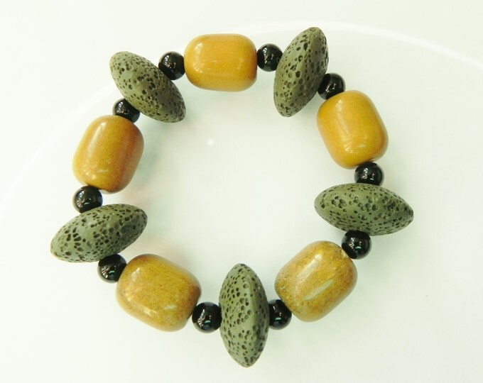 Mustard jasper, black onyx and lava rock bracelet