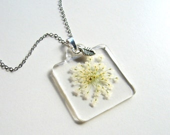 Queen Anne's Lace - Summer Snowflake - Real Flower Garden Necklace - botanic jewelry, pressed flower, flower jewelry, leaf, modern, ooak