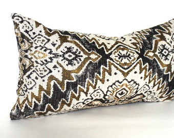 Lumbar Pillow Cover Black Gold Pillow Southwest Upholstery Fabric Oblong Decorative Pillow Throw Pillow Cover 12x24 12x21 12x18 12x16 10x20