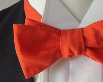 Coral Bow Tie - freestyle, self tie / handmade by Bagzetoile in a quality cotton fabric / ships worldwide.