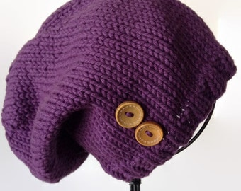 Eggplant Women's Slouch, Knitted Slouch Hat, Wool Slouch, Knitted Wool Slouch, Natural Fiber Knit Hat, Knitted Winter Hat