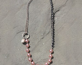 Pink Pearl Skull Necklace