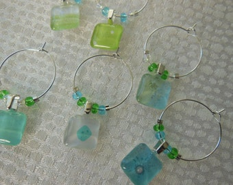 Aqua Glass Charms - Set of Six -  Blue Wine Charms - Glass Beads - Lime Green Glass Wine Charms - Gender Reveal Party Time Entertain Guests