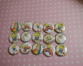 15 Rainbow Brite Inspired Craft Flat Back Embellishment Buttons