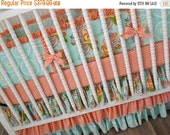 SALE--VALENTINES SALE---- Peach and Mint Crib Bedding- Girl Bedding- 3 piece bedding set- Ready To Ship