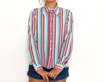 70s Striped Blouse / Multi Color Striped Button Up Shirt / Small Medium 90s Grunge Blouse Pinstripe Rainbow Colorful Collared Shirt
